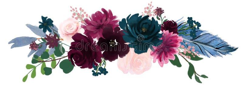Rosa floral da composição do vintage da aquarela e flores azuis e penas do ramalhete floral ilustração royalty free