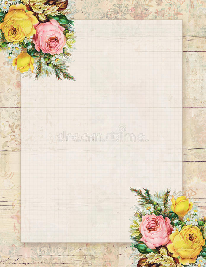 Rosa floral del estilo elegante lamentable imprimible del vintage inmóvil en el fondo de madera libre illustration