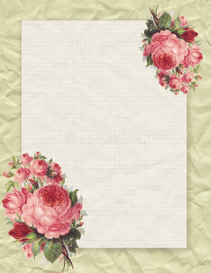 Rosa floral del estilo elegante lamentable imprimible del vintage inmóvil en fondo de papel arrugado ilustración del vector