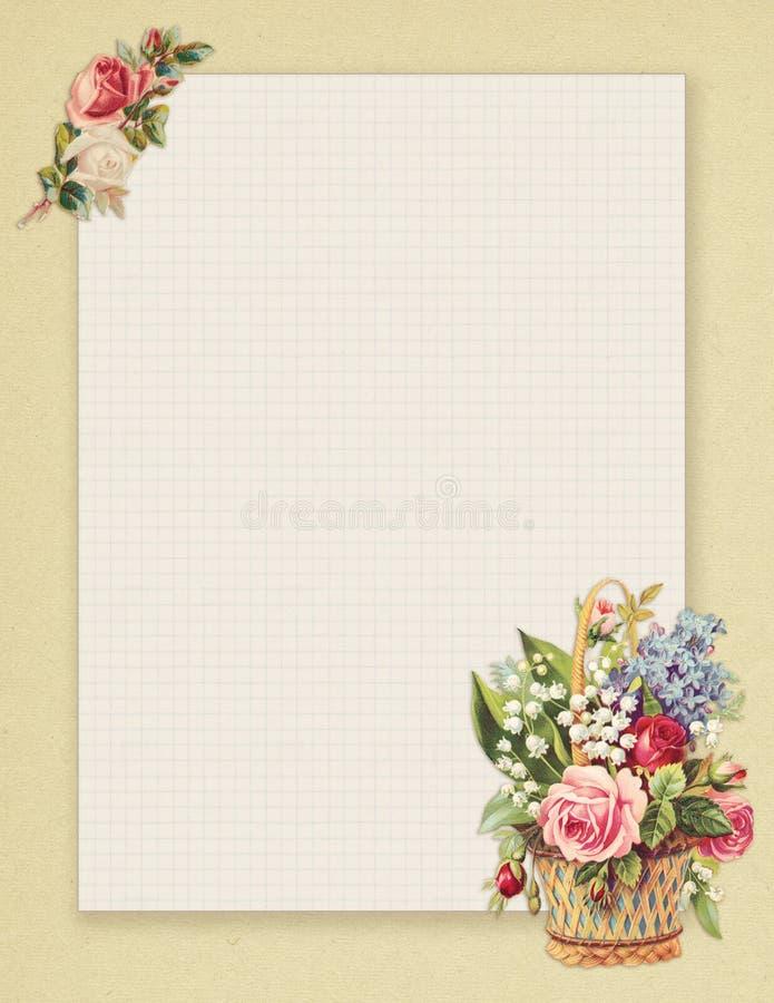 Rosa floral do estilo chique gasto imprimível do vintage estacionária no fundo do papel verde ilustração stock