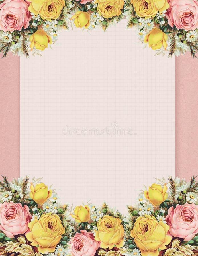 Rosa floreale di stile elegante misero d'annata stampabile stazionaria sul fondo del Libro Verde illustrazione di stock