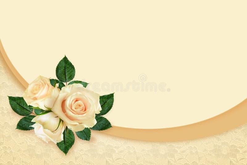Rosa floresce a composição e o quadro ilustração royalty free