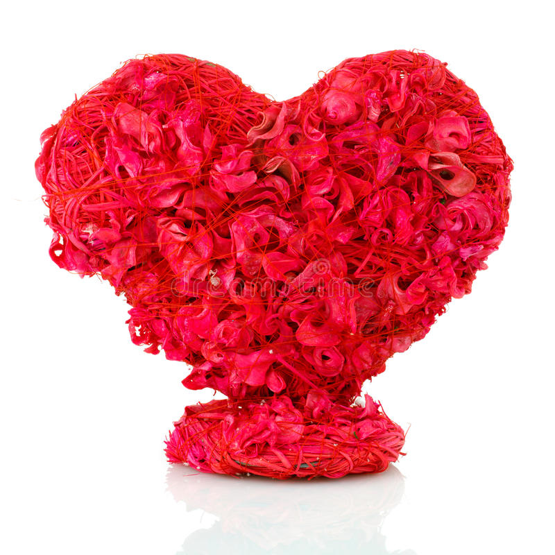 Rosa floresce o coração sobre o branco fotografia de stock