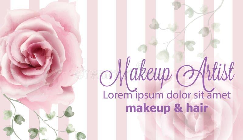 Rosa floresce o vetor da aquarela do fundo Bandeiras florais cor-de-rosa pasteis das decorações da cor do vintage delicado ilustração stock