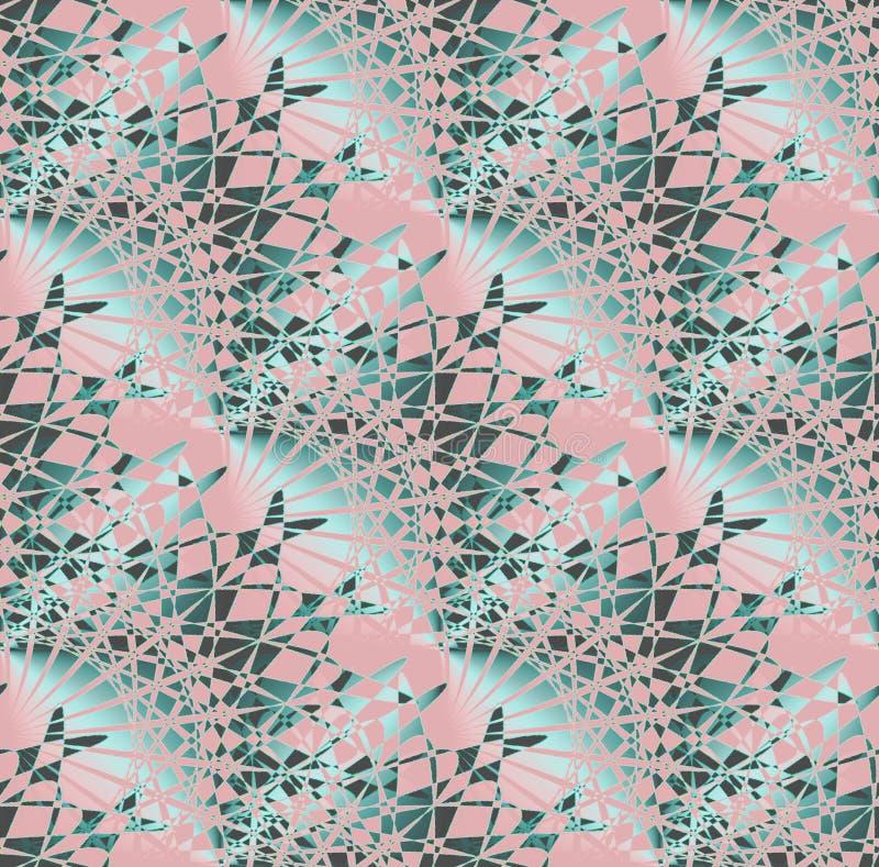 Rosa a forma di ventaglio complesso regolare del modello, acquamarina, turchese e marrone scuro diagonalmente royalty illustrazione gratis