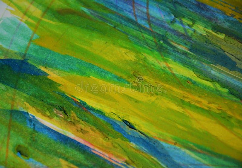 Rosa fosforescerande leriga spts för blå gräsplan, idérik bakgrund för målarfärgvattenfärg royaltyfri fotografi