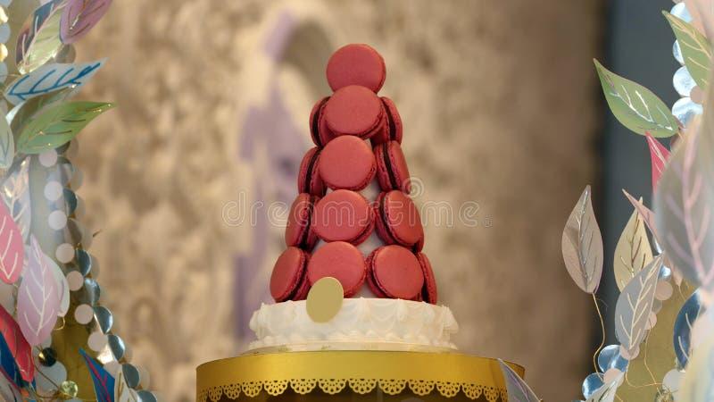 Rosa fransk macaron i en härlig och smaklig kaka för showställning bakat makronkex av blandade färger och olik smak royaltyfri bild
