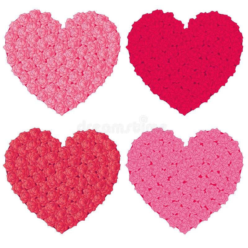 Rosa fyllda hjärtor vektor illustrationer