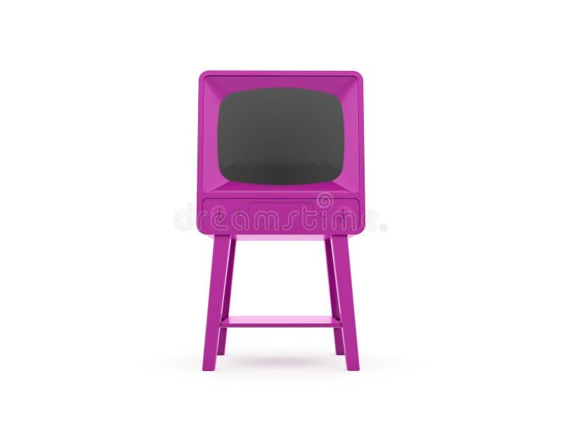 Rosa gammal TV som framförs som isoleras på vit royaltyfri illustrationer