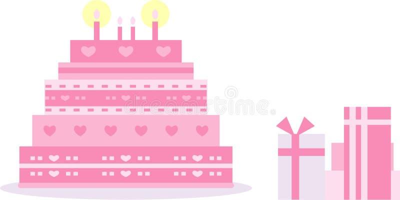 Rosa Geburtstag/Hochzeitstorte lizenzfreie stockfotos