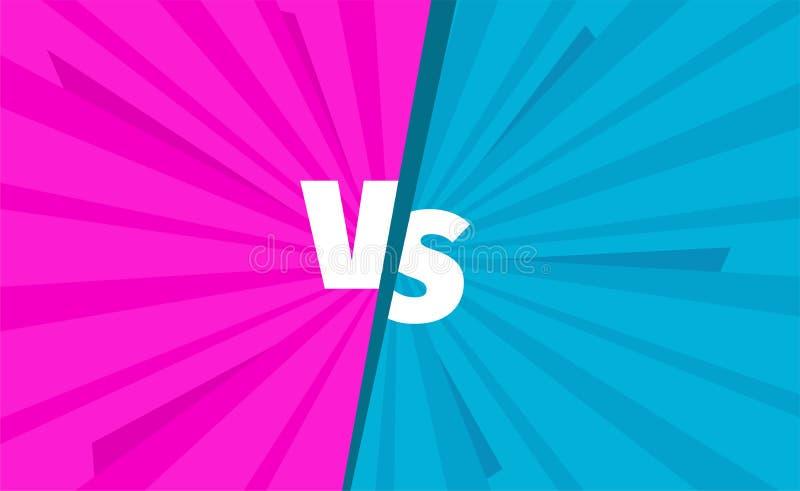 Rosa gegen blaue Teams gegen Kampfschirm Kampfhintergrundwettbewerb Opposition gegen Kontrast lizenzfreie abbildung