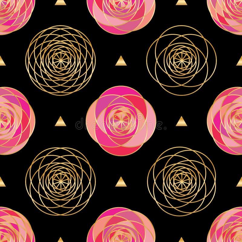 Rosa geolinje guld- sömlös modell för triangelsvart royaltyfri illustrationer