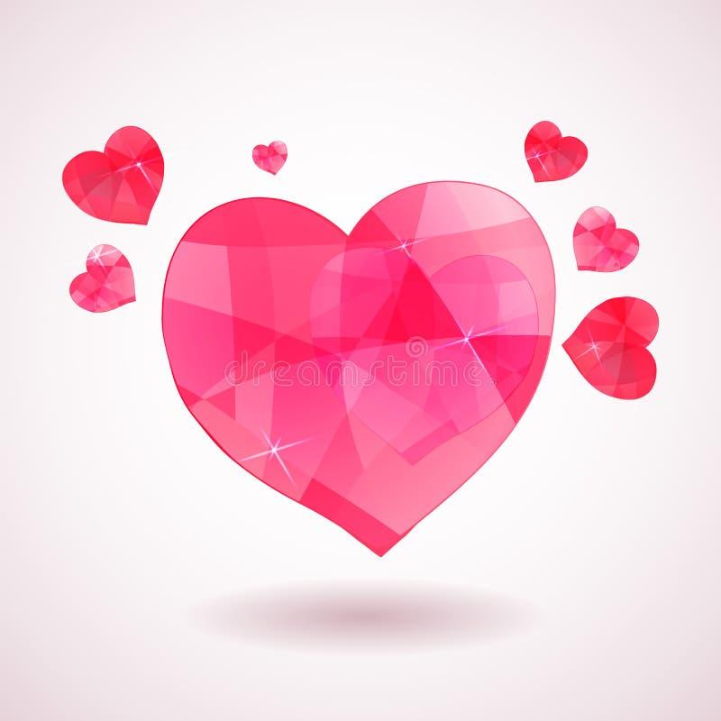 Rosa geometrisches Herz stock abbildung
