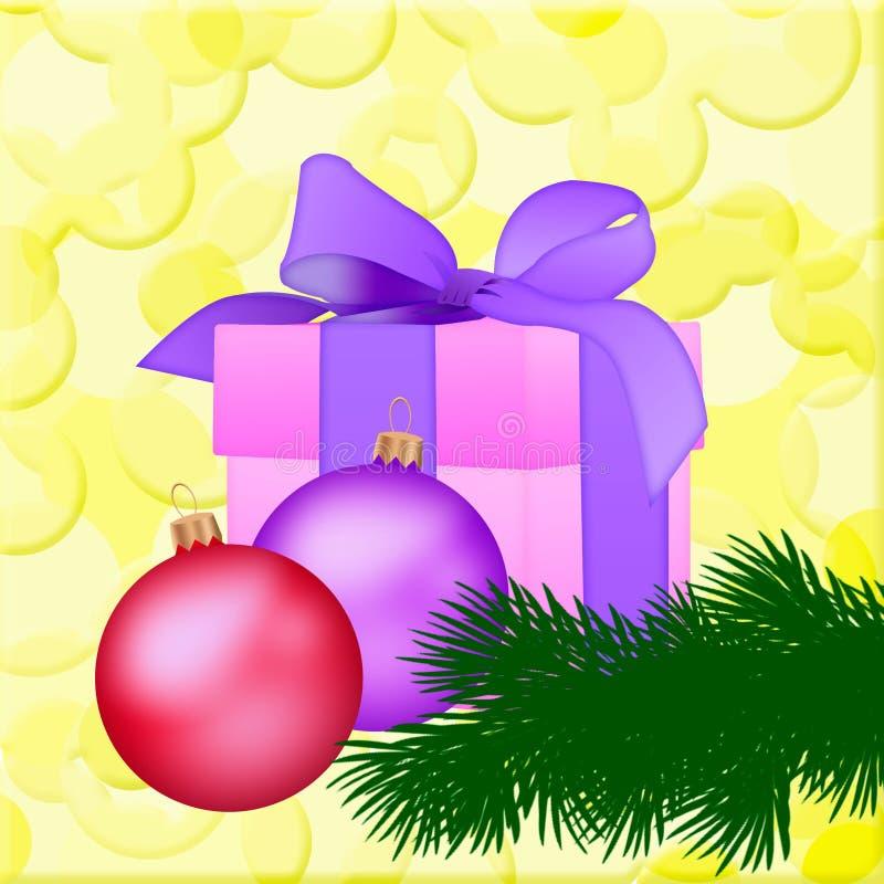Rosa Geschenkbox mit Weihnachtsspielwaren und eine Niederlassung auf einem gelben backg lizenzfreie abbildung