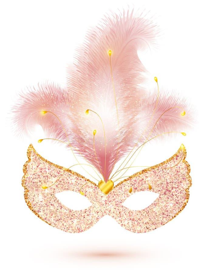 Rosa glänzende Funkelnkarnevalsmaske mit den Federn lokalisiert auf weißem Hintergrund stock abbildung