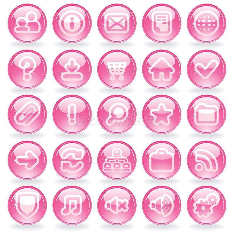 Rosa Glass knappar för Shine royaltyfri illustrationer