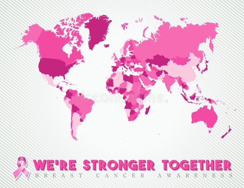 Rosa global do mapa mundial do câncer da mama unido ilustração royalty free
