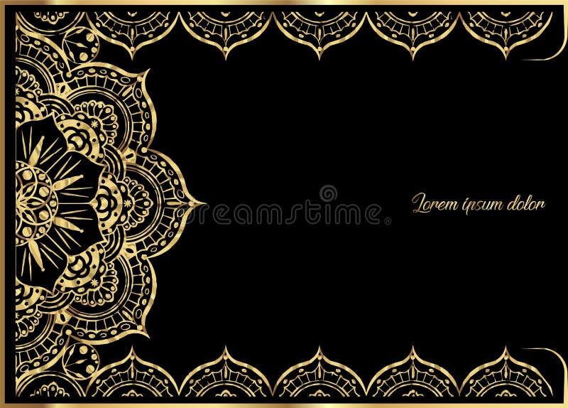 Rosa Goldweinlese-Grußkarte auf schwarzem Hintergrund Luxusverzierungsschablone Groß für Einladung, Flieger, Menü, Broschüre lizenzfreie abbildung
