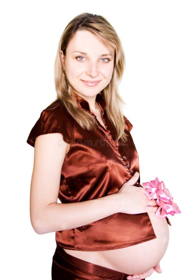 rosa gravid kvinna för baw royaltyfri fotografi