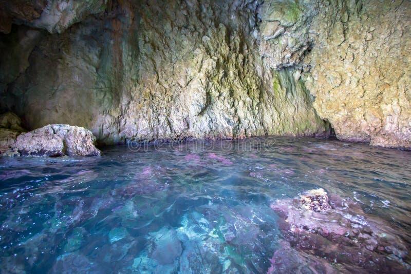 Rosa Grotte, Korfu, Griechenland stockbild