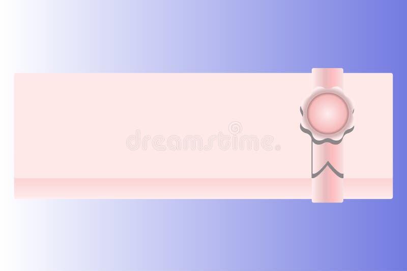 Rosa Grußkarte mit einem Stempel für verschiedene Ereignisse vektor abbildung