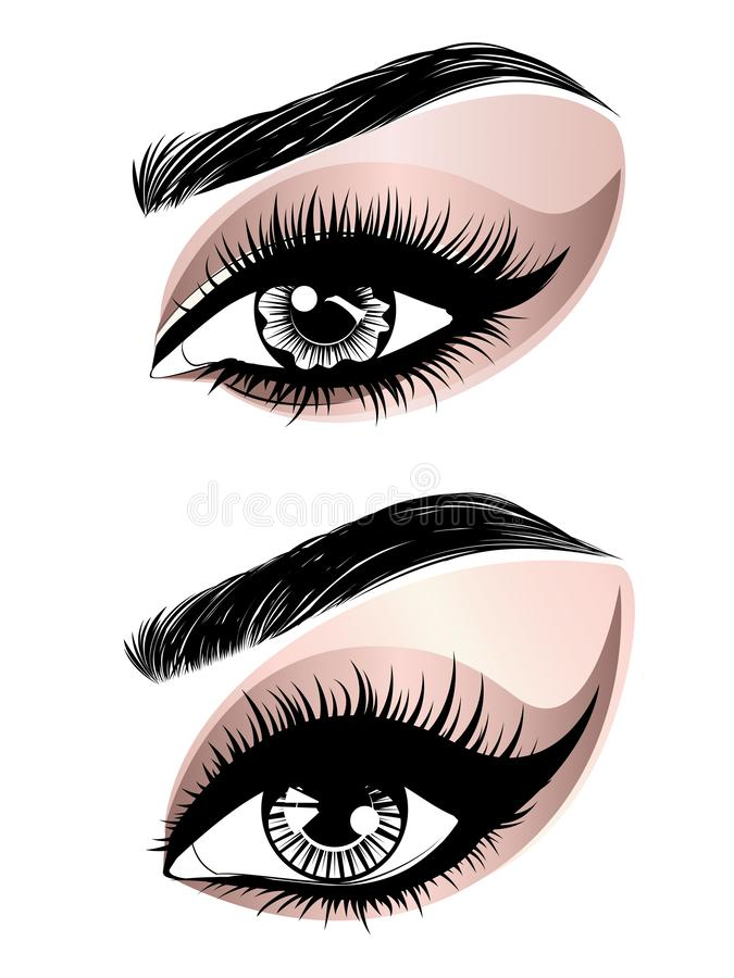 Rosa guld- ögonsmink stock illustrationer