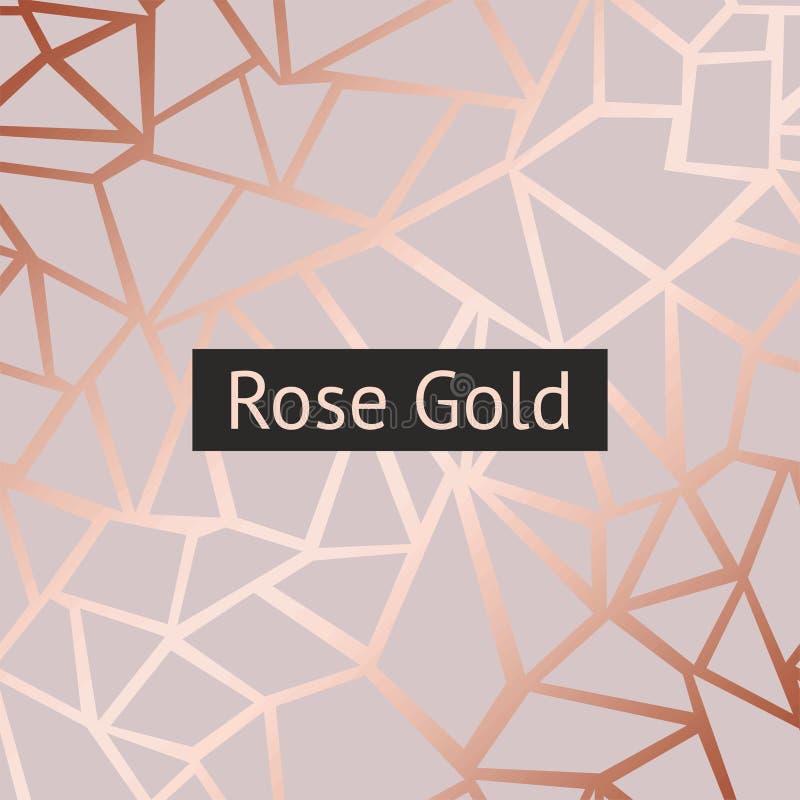 Rosa guld Dekorativ bakgrund för vektor med efterföljd av rosa guld royaltyfri illustrationer
