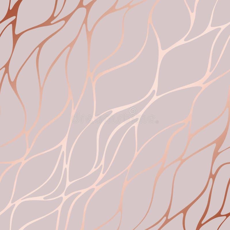 Rosa guld Dekorativ vektormodell med blom- beståndsdelar royaltyfri illustrationer