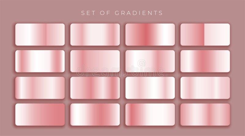 Rosa guld eller rosa metallisk lutninguppsättning vektor illustrationer