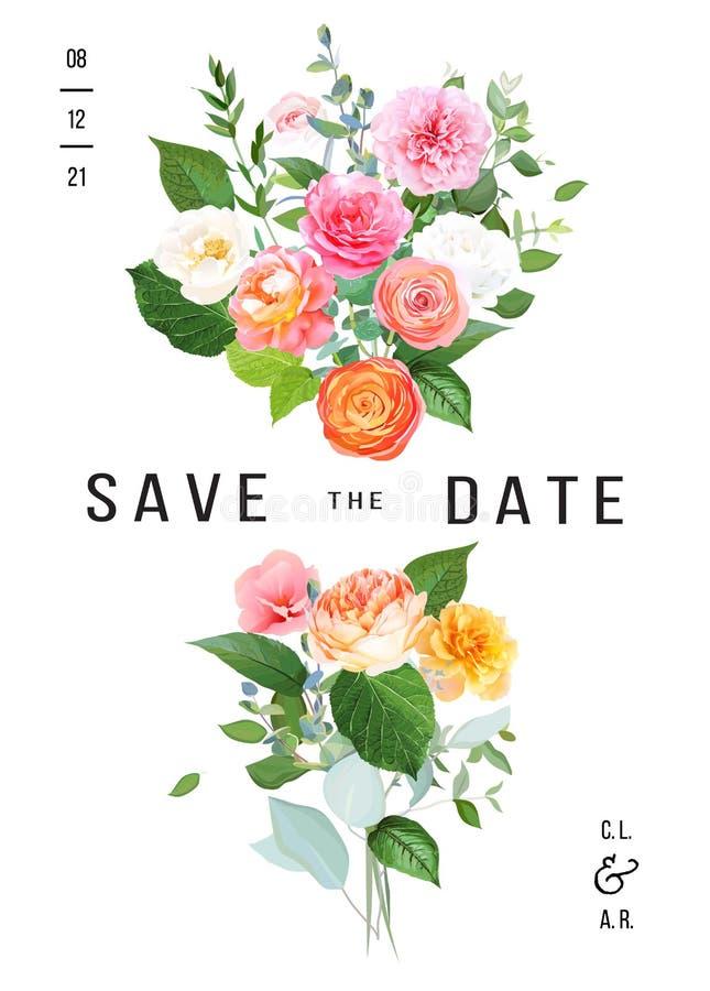 Rosa gult, steg fuchsiarosen, den orange ranunculusen, juliettr?dg?rd, korallblommor vektor illustrationer