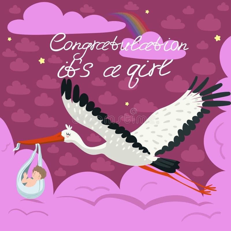 Rosa hälsa kort för ankomsten av flickan En stork bär ett gulligt barn i en påse Vektorvykort vektor illustrationer