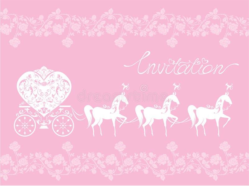 Rosa hälsningkort med en snöra åtprydnad. Blom- lodisar vektor illustrationer