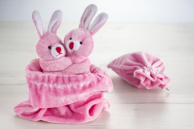 Rosa Häschen in der Tasche, die für Valentinsgrußtag umarmt stockbilder