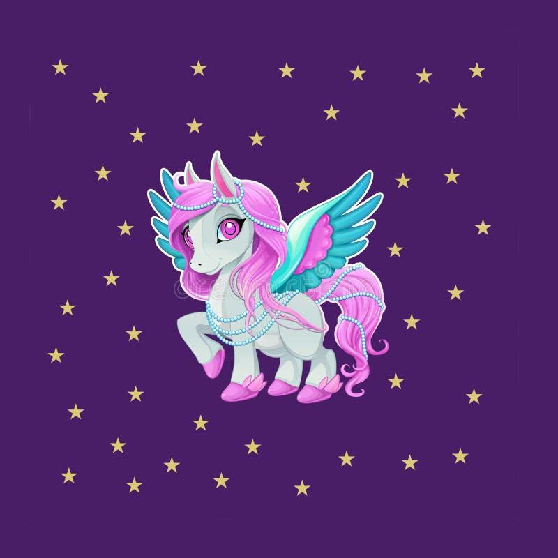 Rosa häst eller enhörning eller Pegasus med blåa vingar stock illustrationer