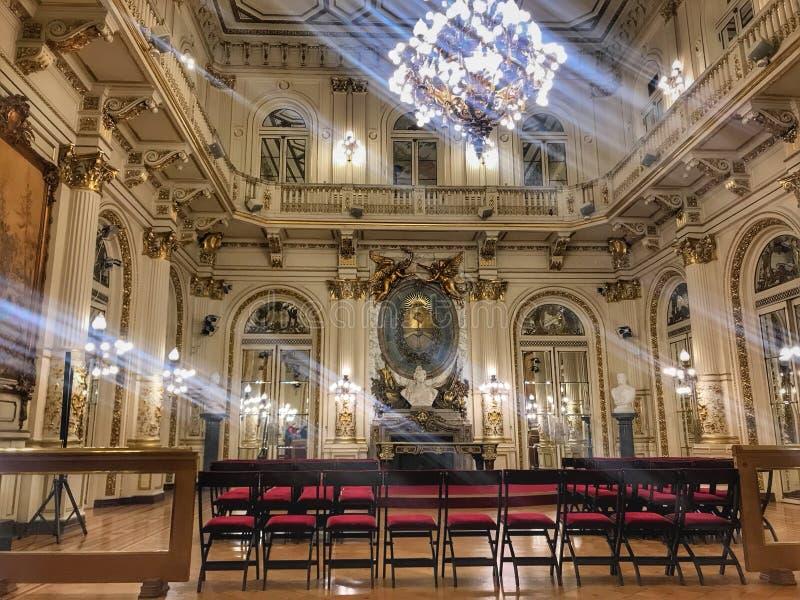 Rosa Hauskonferenzsaal stockfoto