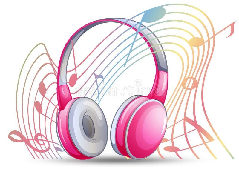 Rosa headphone med musicnotes i bakgrund royaltyfri illustrationer