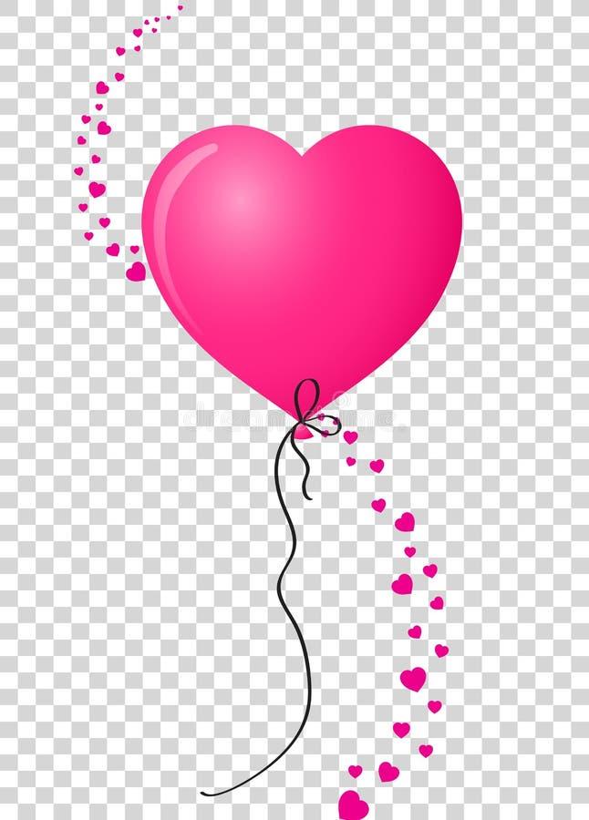 Rosa Herz formte Heliumballon mit der vertikalen Welle, die von gemacht wurde, hören lizenzfreie abbildung