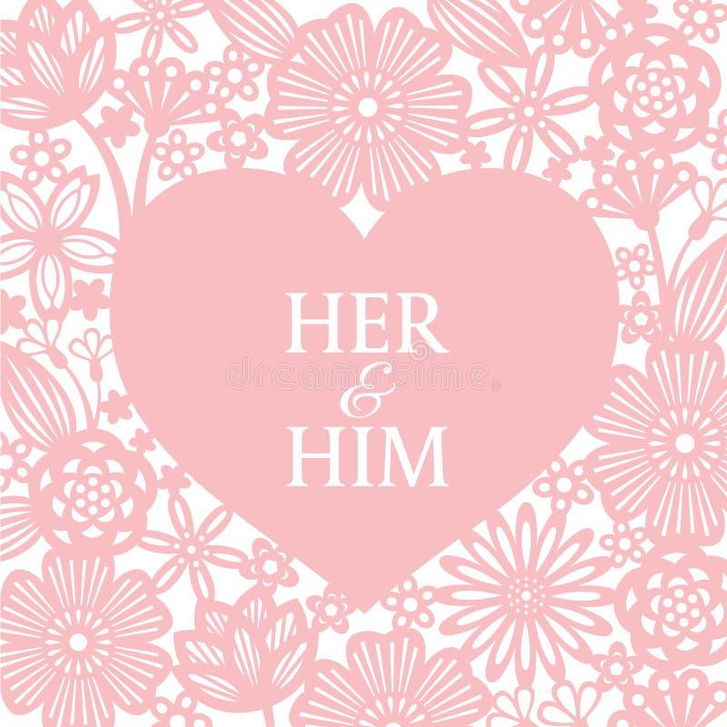 Rosa Herz und abstrakte Blumenpapierschnitthintergrundvektorkunst entwerfen für Hochzeitskarte oder -Valentinsgruß ` s Tag stock abbildung