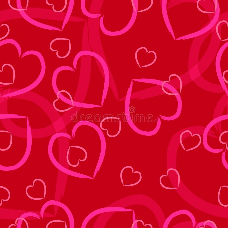 Rosa Herzen auf einem roten Hintergrund lizenzfreie stockfotos