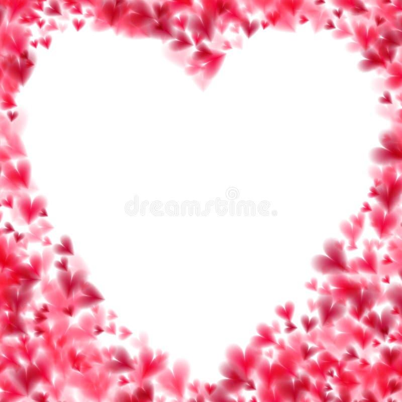 Rosa Herzen bokeh Licht Valentinsgruß ` s Tageshintergrund ENV 10 Zarter Hintergrund mit allmählich ändernden Farbherzen vektor abbildung