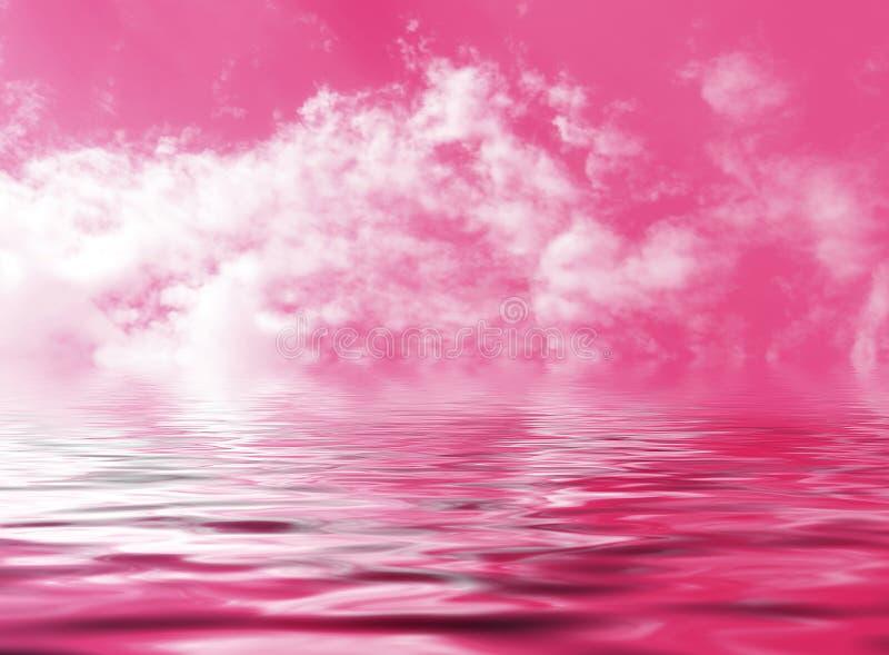 Rosa himmel med moln reflekterade i det abstrakta fantasivattnet arkivbild