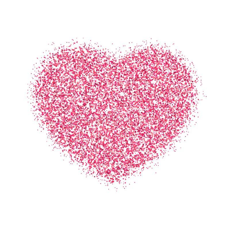 Rosa hjärta av rosa färger blänker för valentins dag Grafisk beståndsdel som isoleras på vit bakgrund Briljant dammvektorillustra stock illustrationer