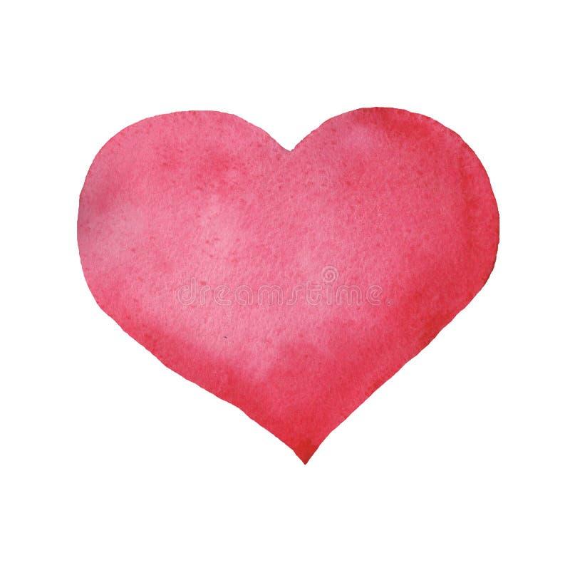 Rosa hjärta för abstrakt vattenfärg på vit bakgrund vektor illustrationer