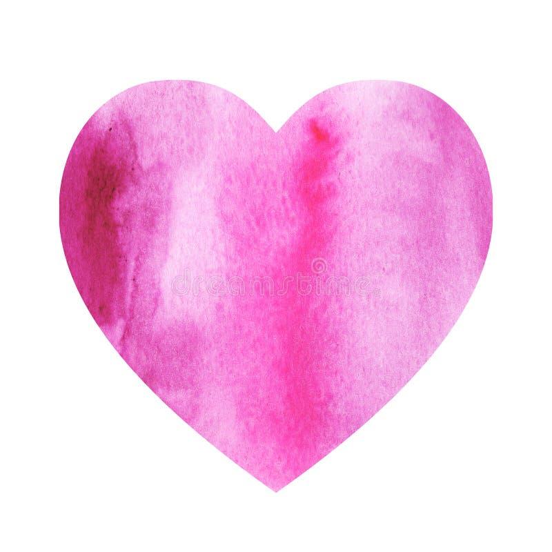 Rosa hjärta för vattenfärgillustrationlutning på en vit bakgrund arkivbilder