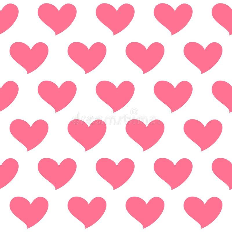 Rosa hjärta isolerade den sömlösa modellen på vit bakgrund Symbol av förälskelse royaltyfri illustrationer
