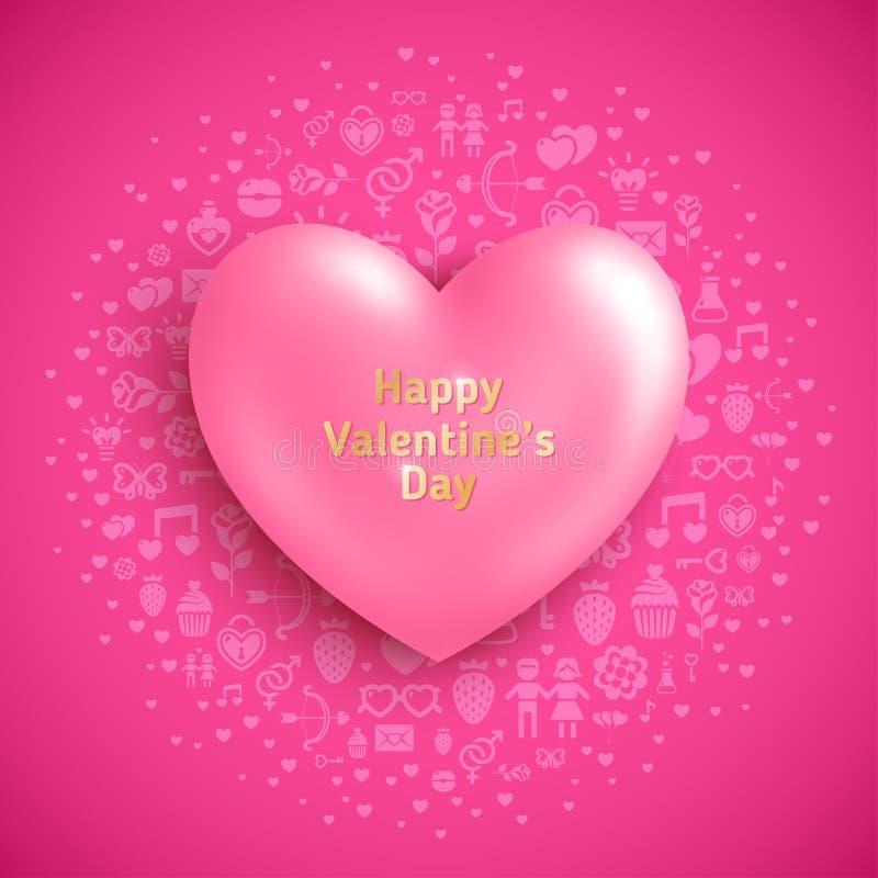 Rosa hjärta på purpurfärgad bakgrund med förälskelsesymboler royaltyfri illustrationer
