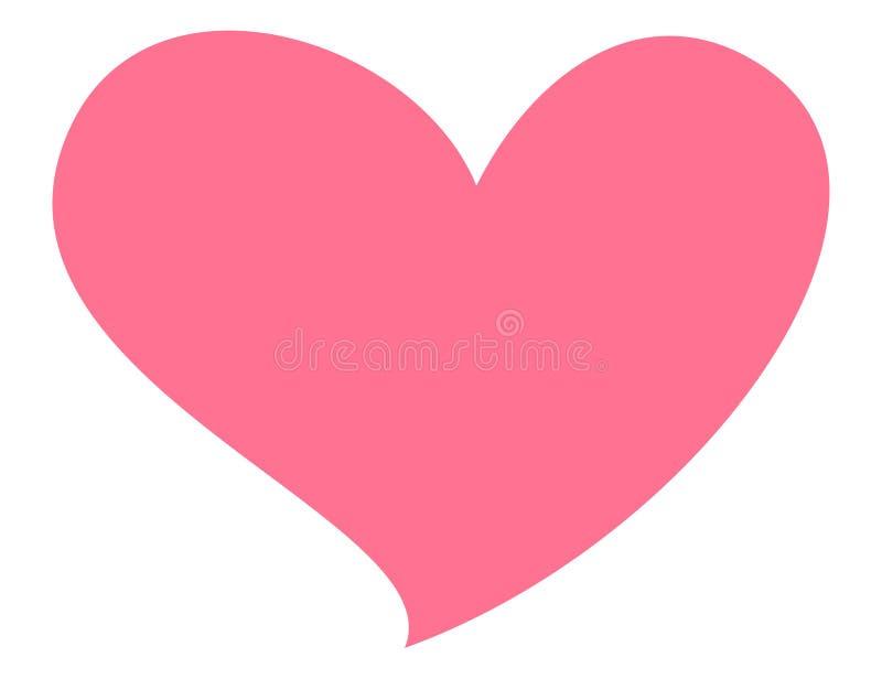 Rosa hjärta som isoleras på vitbakgrund Symbol av förälskelse-, hälso- och realitetkänslor stock illustrationer