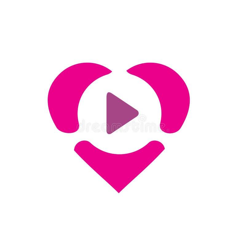 Rosa hjärta som kombineras med leksymbol, vektorlogo eller symbolsdesign vektor illustrationer