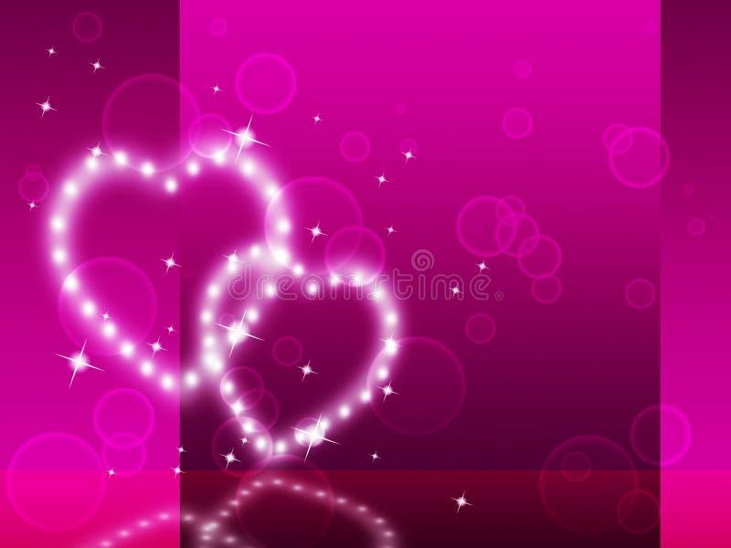 Rosa hjärtabakgrund betyder affektion Desire And Glittering vektor illustrationer