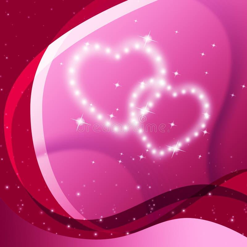 Rosa hjärtabakgrund betyder Valentine Desire And Partner royaltyfri illustrationer